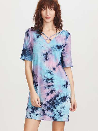 Multicolor Tie Dye Print Crisscross V Neck Tee Dress