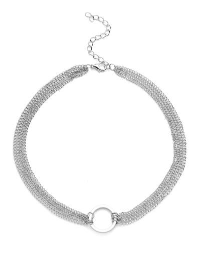 Silver Round Charm Chain Warp Choker Necklace