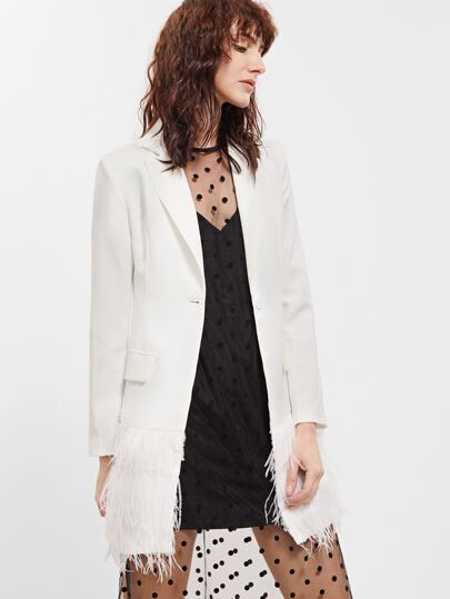 White Layered Faux Fur Trim Longline Blazer