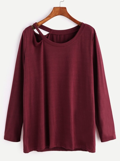 Burgundy Cut Out Neck Loose T-shirt