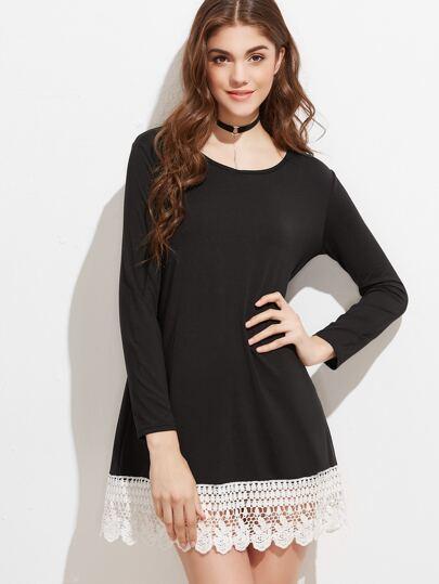 Tee Kleid Kontrast Spitze Saum-schwarz