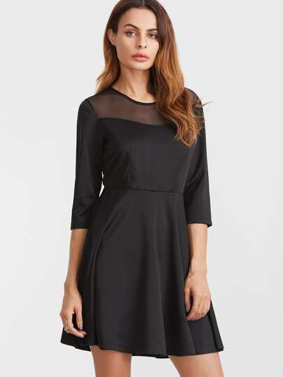 Black Mesh Insert A-Line Dress