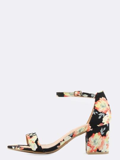 Open Toe Floral Block Heels BLACK MULTI