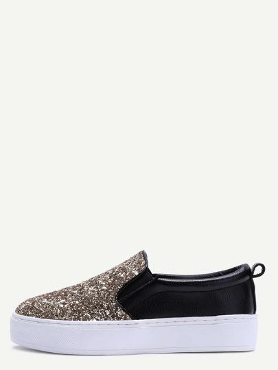 Chaussures de sport slip-on avec paillettes semelle en caoutchouc -noir et doré
