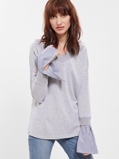 Heather Grey Double V Neck Striped Cuff Sweatshirt