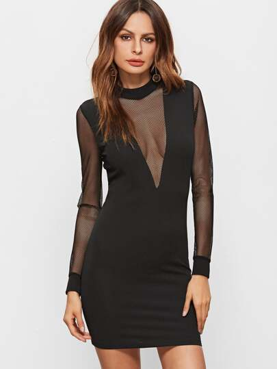 Black Mesh Plunge Neck And Sleeve Zip Back Bodycon Dress