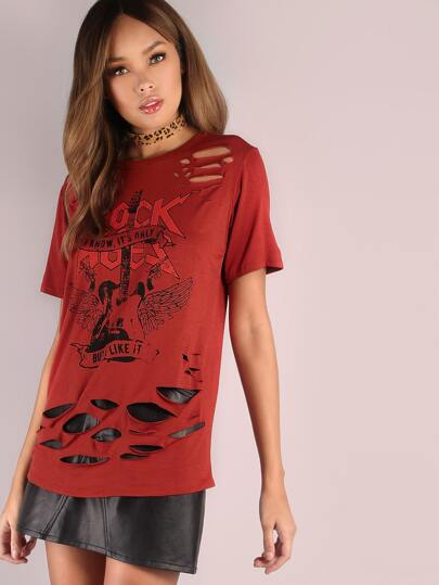 Slashed Rock Ages Graphic Tee MARSALA