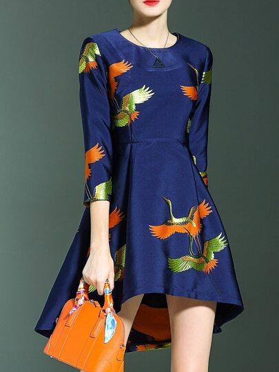 Robe asymétrique de jacquard imprimé en oiseau - bleu