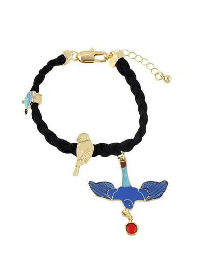 Enamel Eagle Black Suede Chain Bracelet
