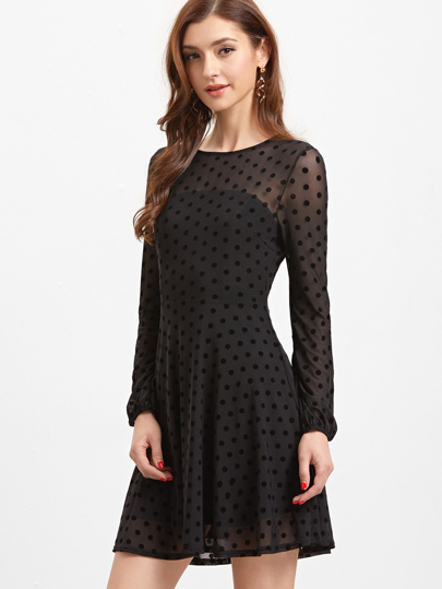 Black Sheer Sleeve Polka Dot Mesh Skater Dress