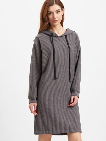 Vestido de canalé con capucha - gris