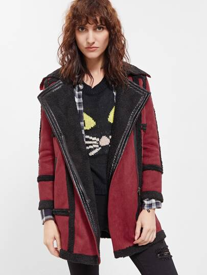 Burgundy Contrast Trim Faux Shearling Coat