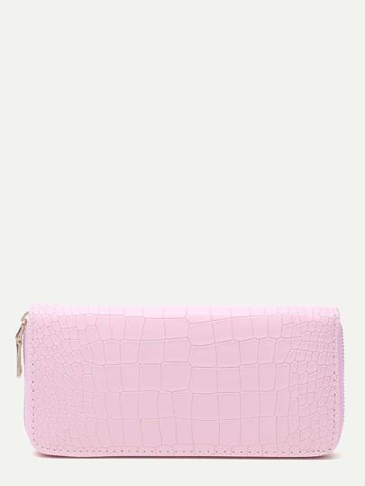 Portefeuille longue brodé en crocodile avec zip - rose clair