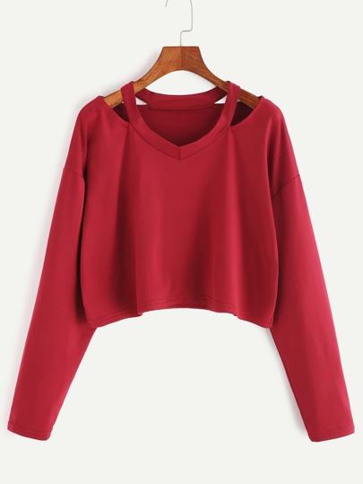 Kurze T-shirt Cut-Outs Kragen-burgund rot
