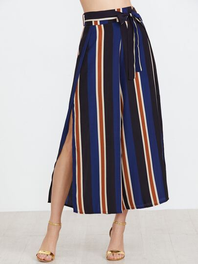 Vertical Striped Slit Side Wide Leg Pants With Belt