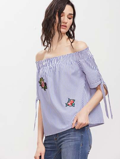 Pinstripe Off The Shoulder Tie Sleeve Top With Patch
