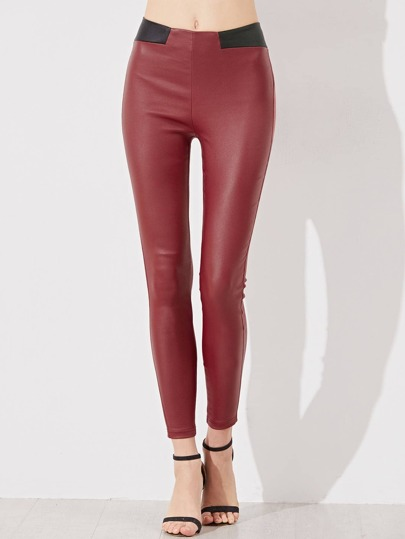 Contrast Waist Coated Leggings
