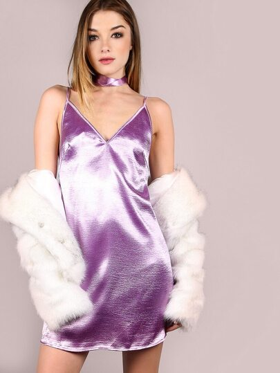 Purple Crushed Velvet Cami Dress With Neck Tie