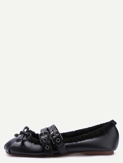 Chaussons de ballet en faux cuir à bretrelles tricoté doublées de fourrure -noir