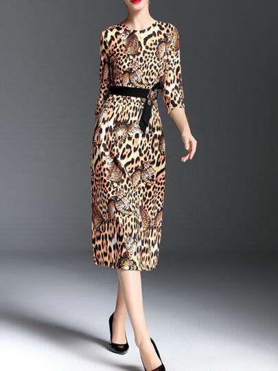 Robe à col roulé imprimé chat léopard -brun clair