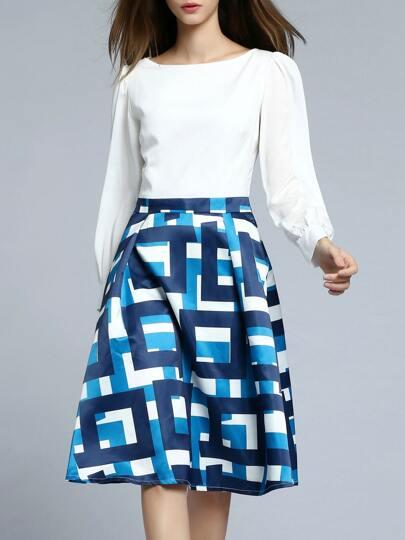 A-robe contrasté -blanc et bleu