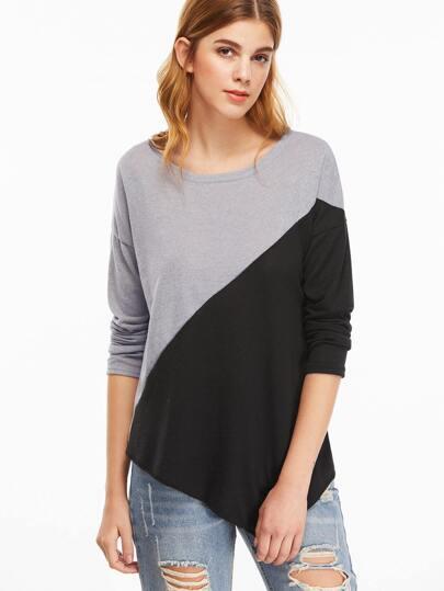 Strick T-shirt Drop Schulter Asymmetrische Saum-kontrastfarbe
