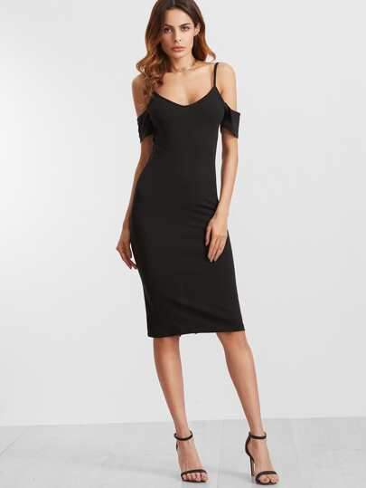 Black Cold Sholder Slit Back Pencil Dress