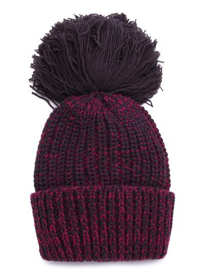 Bonnet tricot de câble avec pompom -bordeaux rouge
