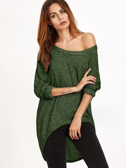 Dark Green One Shoulder Dip Hem T-shirt
