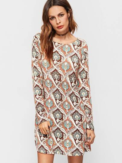Multicolor Geometric Print Round Neck Shift Dress