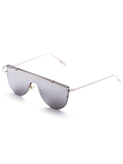 Silver Tone Smoke Lens Aviator Style Sunglasses