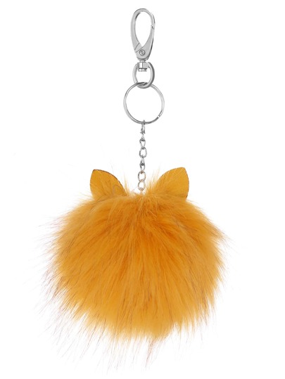 Yellow Pom Pom with Ear Keychain
