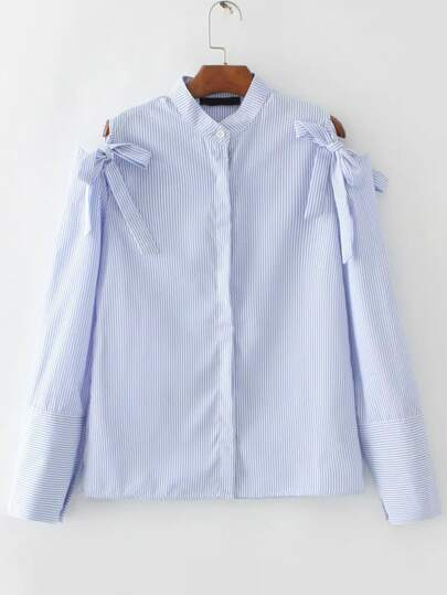 Blue Vertical Striped Open Shoulder Blouse With Bow Tie