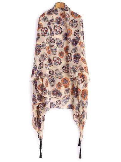 Бежевый шифоновый шарф с принтом с бахромой