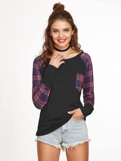 T-Shirt Con Tasche Maniche A Raglan - Contrasto