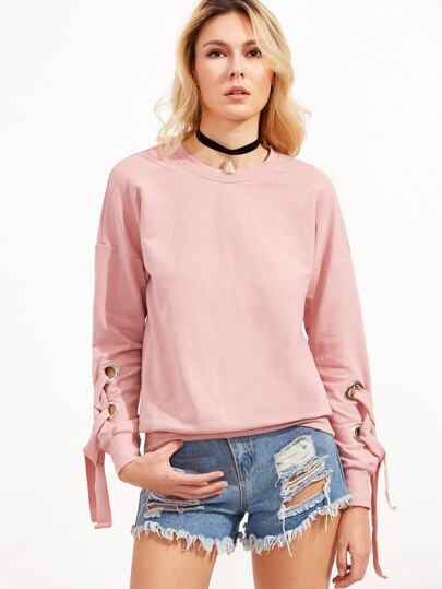 Pink Drop Shoulder Eyelet Lace Up Sleeve Sweatshirt