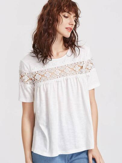 Floral Lace Panel Keyhole Back Slub T-shirt