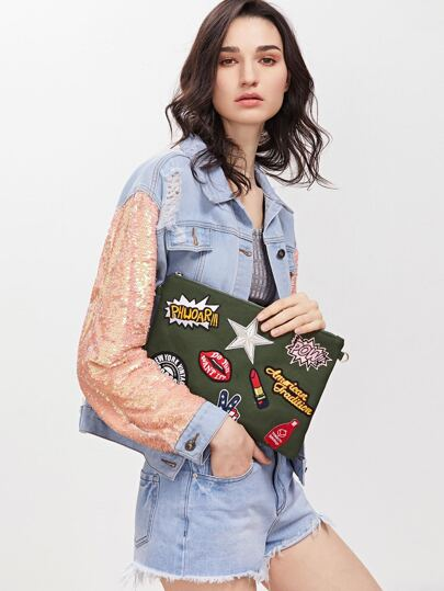 Army Green Embroidered Patches Zip Closure Crossbody Bag
