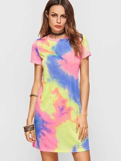 Multicolor Pastel Tie Dye Print Tee Dress