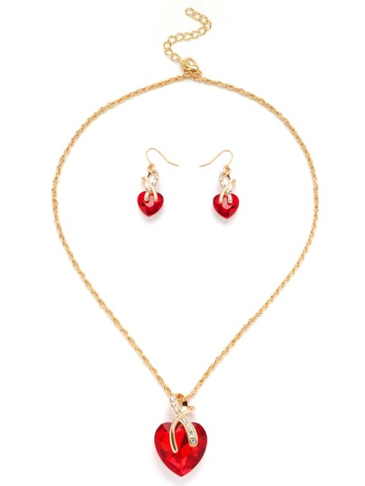 Gold Tone Heart Shape Red Gem Link Necklace Set