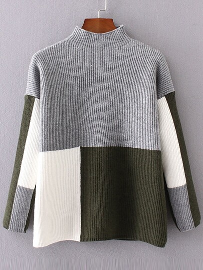 Color Block Mock Neck Drop Shoulder Sweater