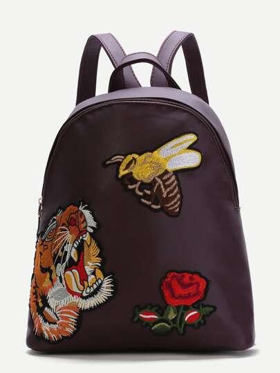 Burgundy Animal Embroidered PU Backpack