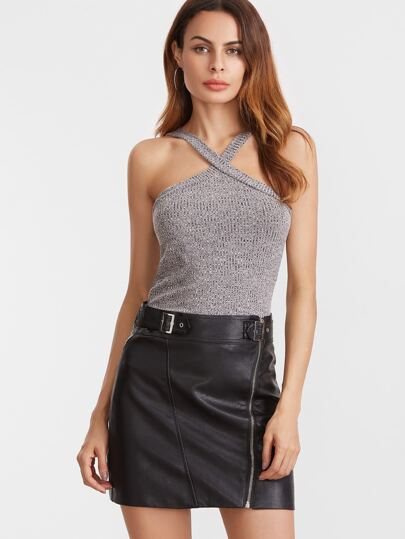 Grey Marled Criss Cross Strap Top