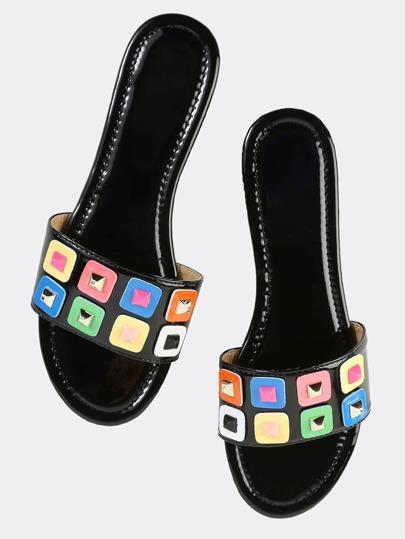 Geometric Patent Slide Sandals BLACK