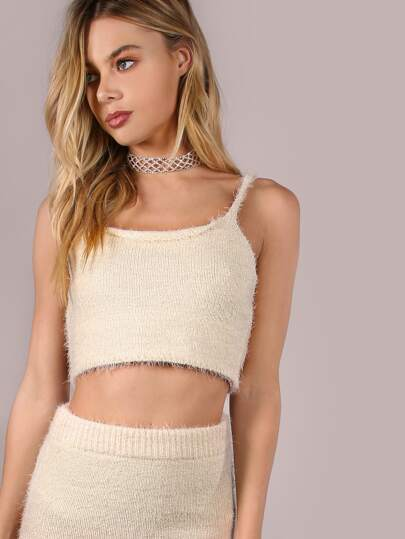 Fuzzy Cami Knit Crop Top CREAM