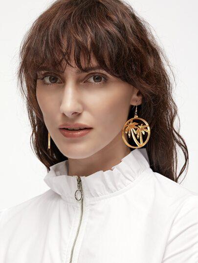 Gold Coconut Tree Hoop Drop Earrings