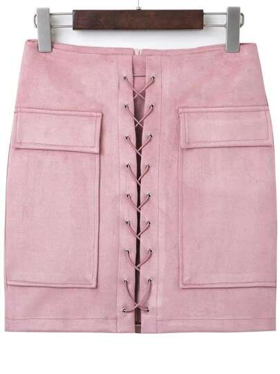 Pink Lace Up Suede Skirt With Pocket