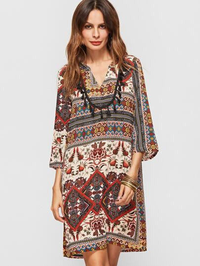 Multicolor Tribal Print Fringe Trim 3/4 Sleeve Dress