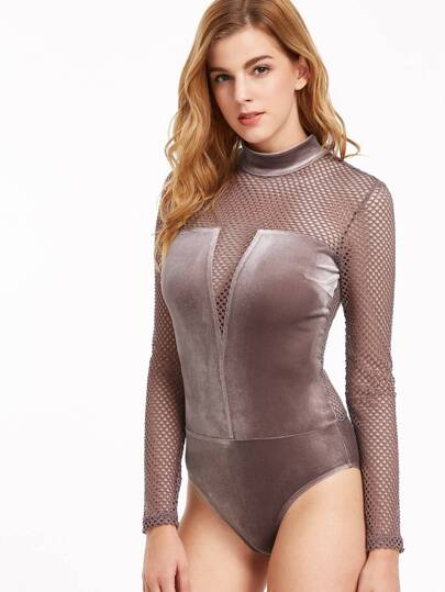 Fishnet Paneled Velvet Bodysuit