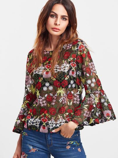 Multicolor Bell Sleeve Flower Embroidered Mesh Top
